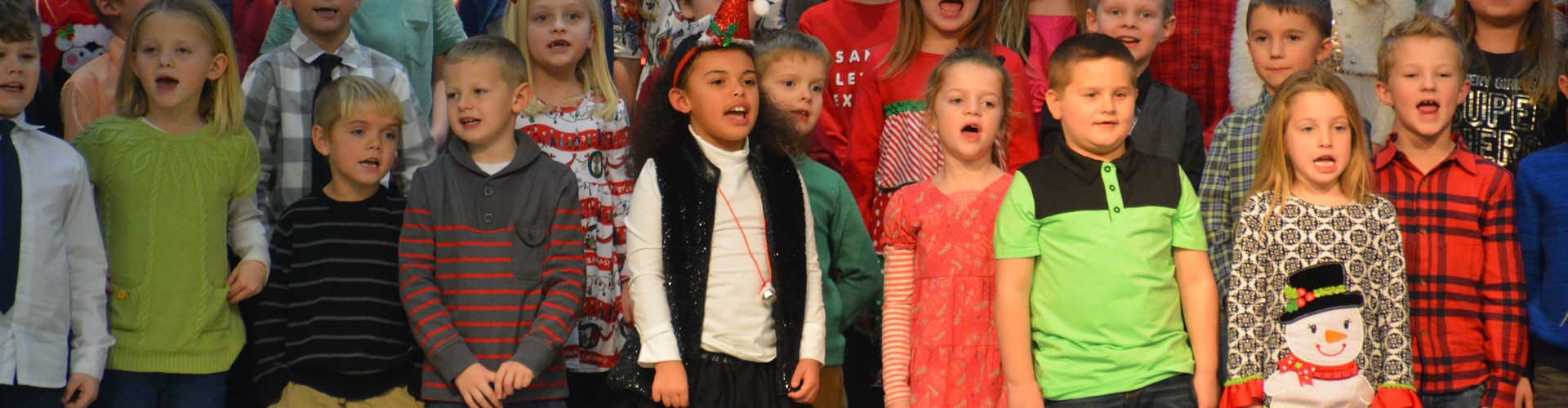 Sugar Creek Elementary choir during a holiday performance